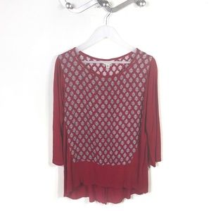 Lucky Brand Red Cream Boho Long Sleeve Blouse Top